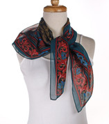 Vintage Carole Little Fashion Scarf - Silk - Gold and Teal - Square