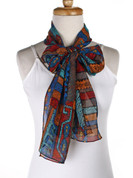 Vintage Carole Little Fashion Scarf - Silk - Southwestern - Long