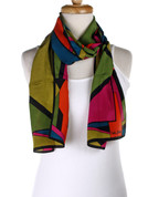 Vintage Carole Little Fashion Scarf - Silk - Olive Bold - Long
