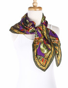Vintage Carole Little Fashion Scarf - Silk - Lush Fruit - Square