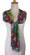 Vintage Carole Little Fashion Scarf - Silk - Pretty Garden - Long