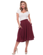 High Waist Thrills Skirt w Pockets - Burgundy - S to 2X