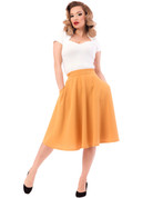 High Waist Thrills Skirt w Pockets - Mustard - S to 2X