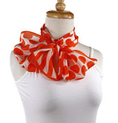 Vintage Honey Brand Fashion Scarf - Silk - Orange Polka Dot - Long