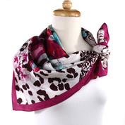 Vintage Carole Little Fashion Scarf - Silk - Bouquet - Square