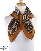 Vintage Burmel Square Fashion Scarf - Silk Blend - Leopard Print