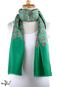 Vintage Burmel Long Fashion Scarf - Silk - Green Paisley
