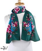 Vintage Honey Brand Fashion Scarf - Silk - Pink Rose on Deep Green  - Long