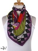 Vintage Carole Little Fashion Scarf - Silk - Deco - Square 30x30