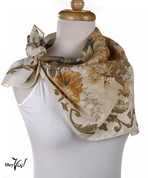 Vintage Carole Little Fashion Scarf - Silk - Ivory Floral - Square 30x30