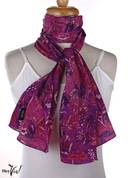 Vintage Carole Little Fashion Scarf - Silk - Deep Purple - Oblong 11x56