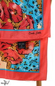 Vintage Carole Little Fashion Scarf - Silk - Coral & Turquoise - Square 30x30