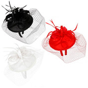 Pillbox Fascinator Hat w Feathers, Bows, & Birdcage Veil
