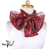 Vintage Carole Little Fashion Scarf - Silk - Gold on Red - Oblong 11x58