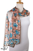 Vintage Carole Little Fashion Scarf - Silk - Blue Roses  - Oblong 11x68