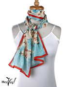Vintage Carole Little Fashion Scarf - Silk - Blue Fleur - Oblong 11x58