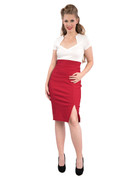 Cora Pencil Skirt - Red - S to 2X