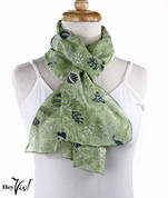 Vintage Zazou Fashion Scarf - Rayon - Green Leaf - Oblong 12x60
