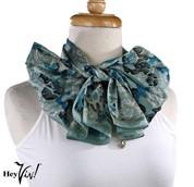 Vintage Honey Brand Fashion Scarf - Silk - Turquoise Green  - Long - 10x52