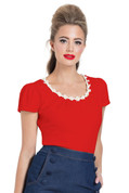 Daisy Trim Red Top by Voodoo Vixen - S to 2X