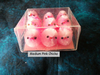9 Medium Pink Fuzzy Chenille Chicks