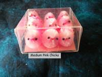 9 Medium Pink Fuzzy Chenille Chicks