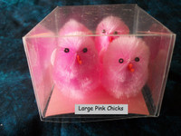 4 XXLarge Pink Fuzzy Chenille Chickens