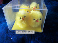 4 XXLarge Yellow Fuzzy Chenille Chicks