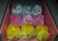 9 XLarge Yellow, Blue, Pink Fuzzy Chenille Chickens