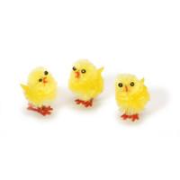 12 Medium Yellow Fuzzy Chenille Chickens