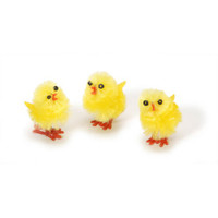 6 Large Yellow Fuzzy Chenille Chicks