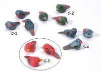 3 Red Mushroom Birds 1 1/8 inch #C3