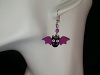 New Handcrafted Earrings- Wood Vampire Purple/Black 1 3/8 inch Bats w/purp bead