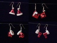 White and Red Glitter Christmas Earrings