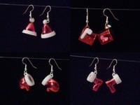 White and Red Glitter Christmas Earrings