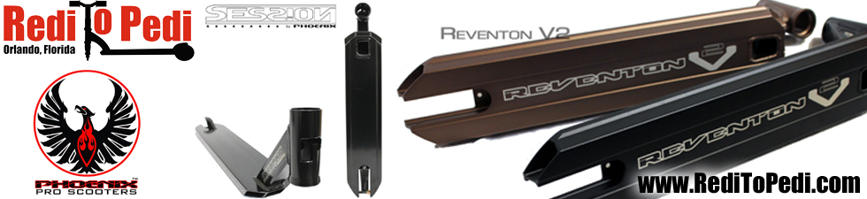 Phoenix Pro Scooter decks can be purchased at RediToPedi.com. For sale now in Orlando, Florida at Pointe Orlando.