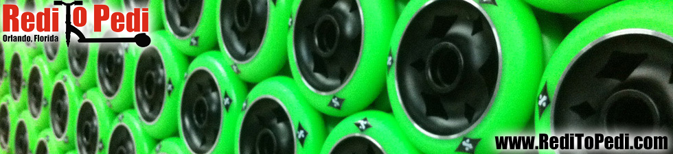 Sacrifice Scooter Wheels are available here online or on location in Orlando, Florida at Redi To Pedi.