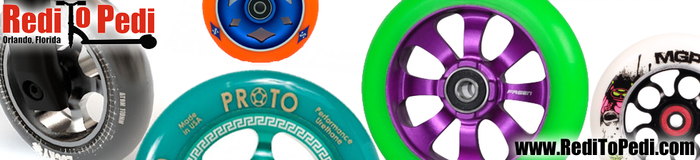 Buy stunt scooter wheels in Orlando, Florida at Redi To Pedi on International Drive.