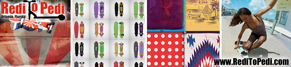Penny boards are available in Orlando, Florida, USA at Redi To Pedi on International Drive.