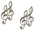 Metal Earrings double treble clefs