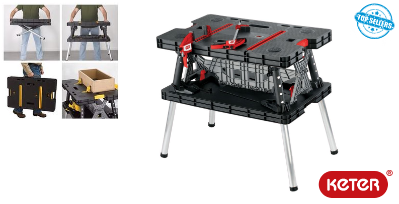 Keter Folding and adjustable work-table with 2 Clamps