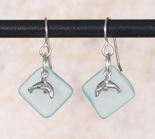Seaglass Dolphin Charm Earring