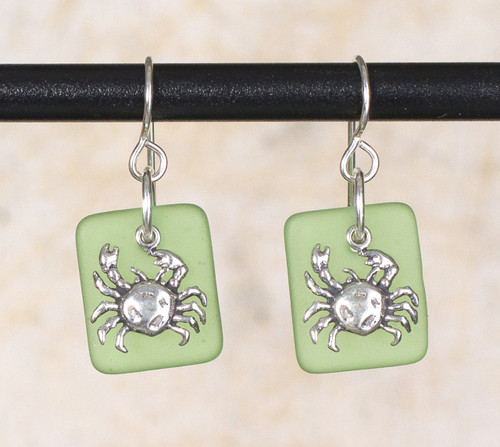 Seaglass Crab Charm earring