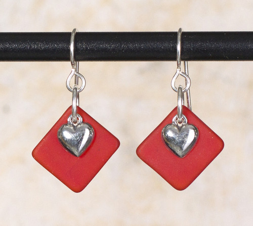 Seaglass Heart Charm Earrings