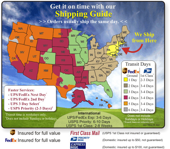 UPS and USPS Shipping Map and Times