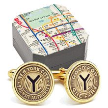 Subway Token Gold Plated Cufflinks