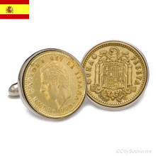 Sterling Silver Spanish Peseta Coin Cufflinks