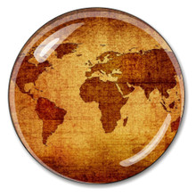 Antique Sepia Map Crystal Paperweight