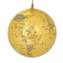 World Globe Ornament - Antique Yellow