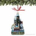 Chicago Landmarks Ornament, Glass Chicago Skyline Ornament